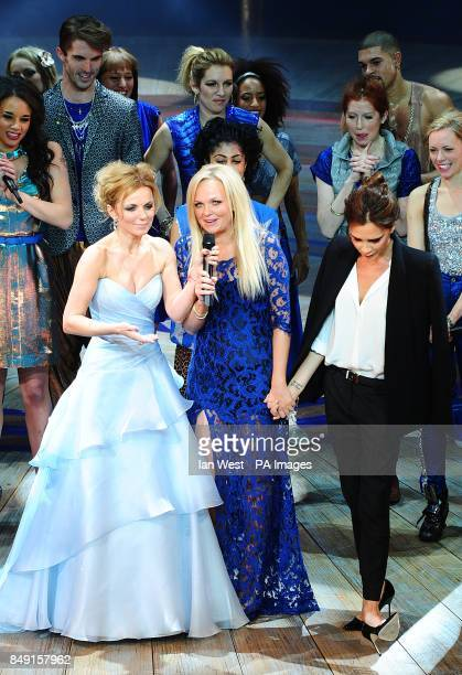 Geri Halliwell Emma Bunton and Victoria Beckham with the cast during the press night of Viva Forever at the Piccadilly Theatre Denman Street London