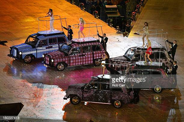Geri Halliwell Emma Bunton Melanie Brown Melanie Chisholm and Victoria Beckham of The Spice Girls perform during the Closing Ceremony on Day 16 of...