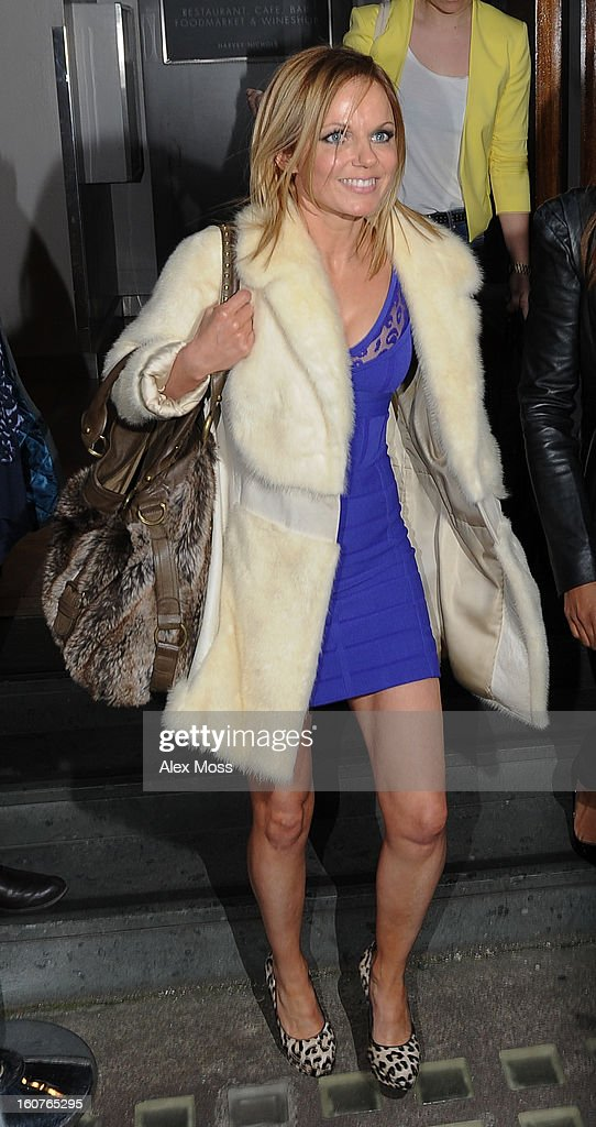 Geri Halliwell is seen leaving the Viva Forever afternoon tea launch at Harvey Nichols on February 5, 2013 in London, England.