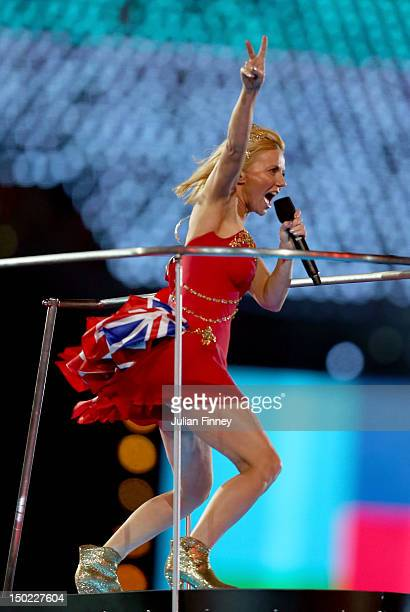 Geri Halliwell of Spice Girls performs during the Closing Ceremony on Day 16 of the London 2012 Olympic Games at Olympic Stadium on August 12 2012 in...