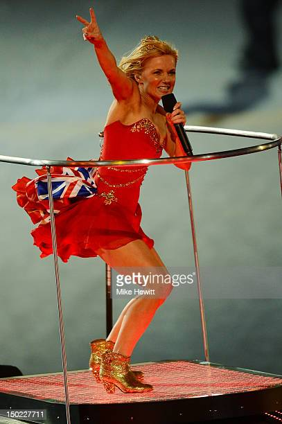 Geri Halliwell of The Spice Girls performs during the Closing Ceremony on Day 16 of the London 2012 Olympic Games at Olympic Stadium on August 12...
