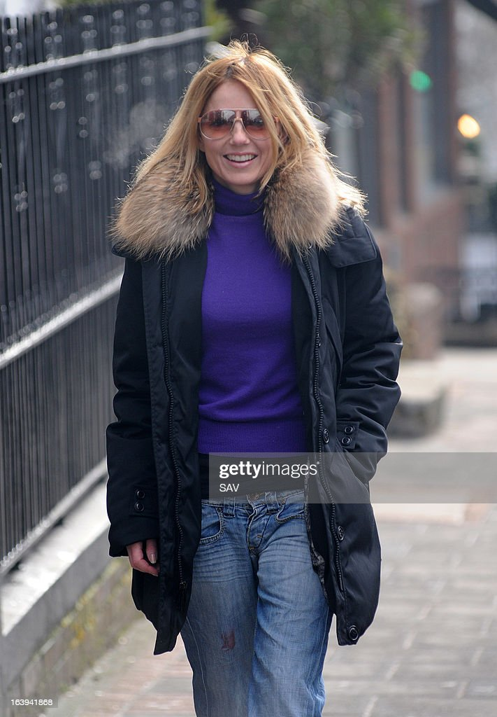 Geri Halliwell pictured on the school run on March 18, 2013 in London, England.