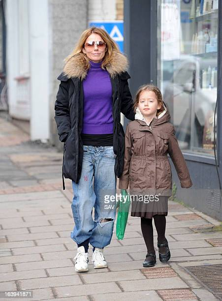 Geri Halliwell pictured on the school run on March 18 2013 in London England
