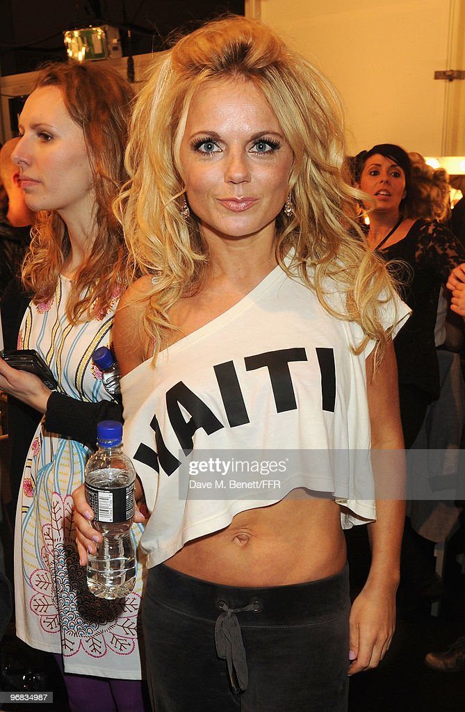 <a gi-track='captionPersonalityLinkClicked' href=/galleries/search?phrase=Geri+Halliwell&family=editorial&specificpeople=157601 ng-click='$event.stopPropagation()'>Geri Halliwell</a> poses backstage during Naomi Campbell's Fashion For Relief Haiti London 2010 Fashion Show at Somerset House on February 18, 2010 in London, England.