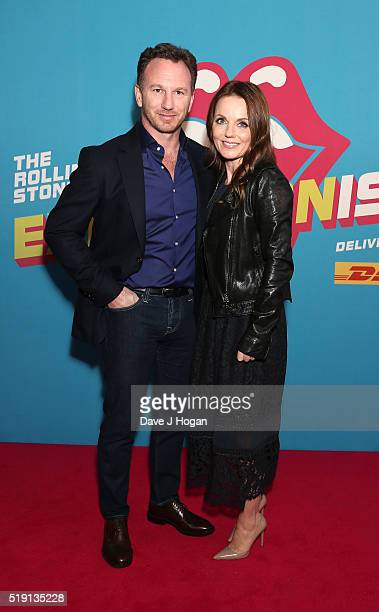 Geri Horner and Christian Horner attend an after party for 'The Rolling Stones Exhibitionism' Saatchi Gallery on April 4 2016 in London England