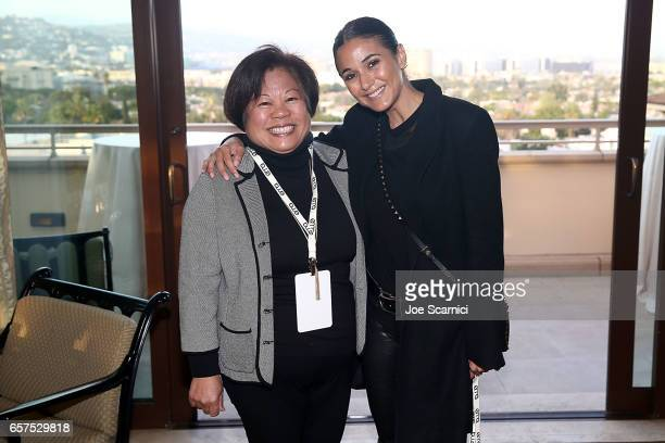 Geri Yoza and Actor/activist Emmanuelle Chriqui attend the Inaugural EMA Impact Summit party at Montage Beverly Hills on March 24 2017 in Beverly...