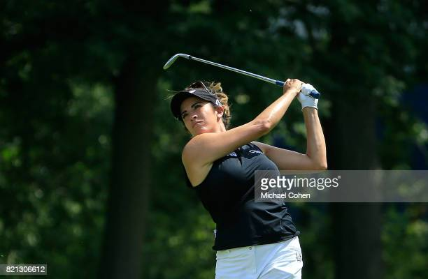 Gerina Piller hits her second shot on the 15th hole during the fourth and final round of the Marathon Classic Presented By Owens Corning And OI held...