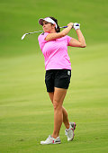 Gerina Piller hits her second shot on the 18th hole during the second round of the Volunteers of America Texas Shootout at Las Colinas Country Club...