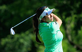 Gerina Piller hits her tee shot on the 13th hole during the third round of the Volunteers of America Texas Shootout at Las Colinas Country Club on...