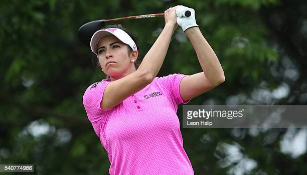 Gerina Piller hits her tee shot on the 9th hole during the first round of the Meijer LPGA Classic on June 16 2016 at Blythefield Country Club in...