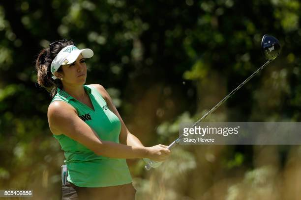 Gerina Piller hits her tee shot on the fifth hole during the third round of the 2017 KPMG PGA Championship on July 1 2017 in Olympia Fields Illinois