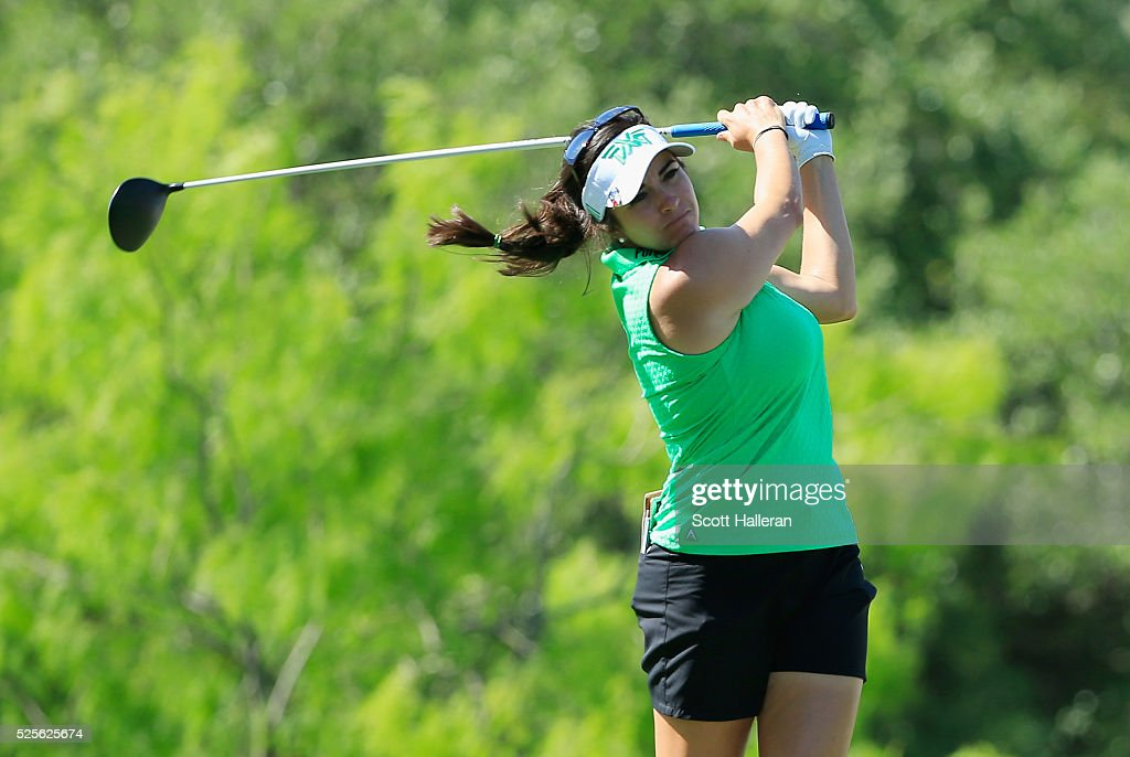 Gerina Piller hits her tee shot on the third hole during the first round of the Volunteers of America Texas Shootout at Las Colinas Country Club on April 28, 2016 in Irving, Texas.
