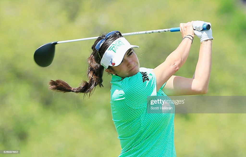 Gerina Piller hits her tee shot on the third hole during the third round of the Volunteers of America Texas Shootout at Las Colinas Country Club on April 30, 2016 in Irving, Texas.