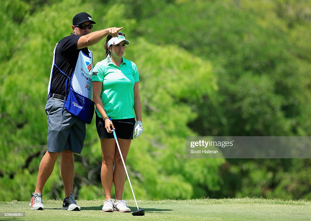 <a gi-track='captionPersonalityLinkClicked' href=/galleries/search?phrase=Gerina+Piller&family=editorial&specificpeople=7855082 ng-click='$event.stopPropagation()'>Gerina Piller</a> lines up her tee shot on the third hole with her caddie Brian Dilley during the third round of the Volunteers of America Texas Shootout at Las Colinas Country Club on April 30, 2016 in Irving, Texas.