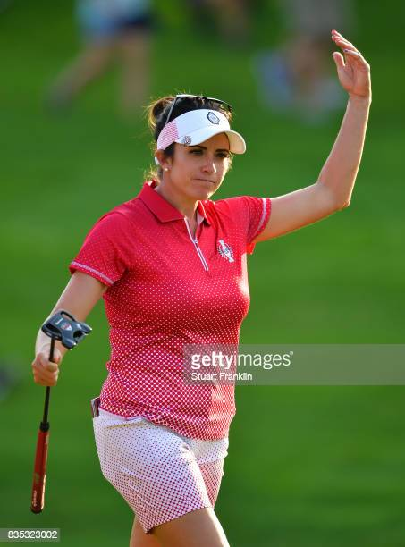 Gerina Piller of Team USA celebrates a putt during the afternoon fourball matches of The Solheim Cup at Des Moines Golf and Country Club on August 18...