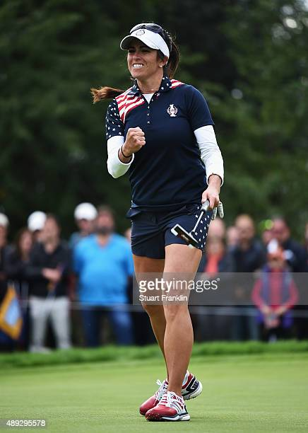 Gerina Piller of team USA celebrates winning her match during the singles matches of The Solheim Cup at St LeonRot Golf Club on September 20 2015 in...