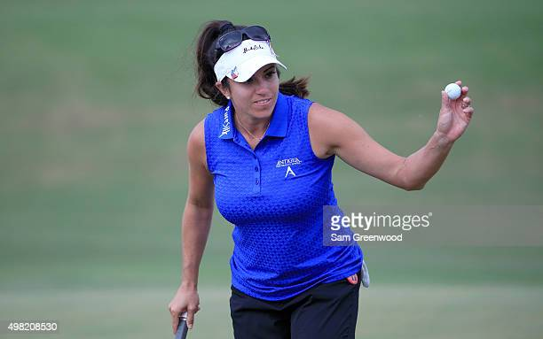 Gerina Piller of the United States acknowledges the crowd on the 17th hole during the third round of the CME Group Tour Championship at Tiburon Golf...