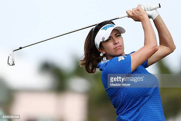 Gerina Piller of the United States hits a tee shot on the fifth hole during the final round of the Pure Silk Bahamas LPGA Classic on January 29 2017...
