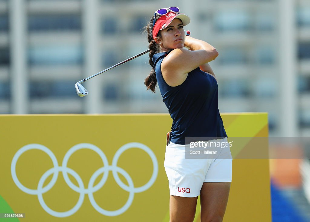 Gerina Piller of the United States hits her tee shot on the eighth hole during the second round of the Women's Individual Stroke Play golf on Day 13...