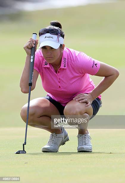 Gerina Piller of the United States looks at a putt on the third hole during the final round of the CME Group Tour Championship at Tiburon Golf Club...