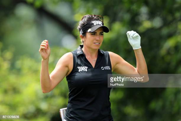 Gerina Piller of the United States reacts after her second tee shot during the final round of the Marathon LPGA Classic golf tournament at Highland...