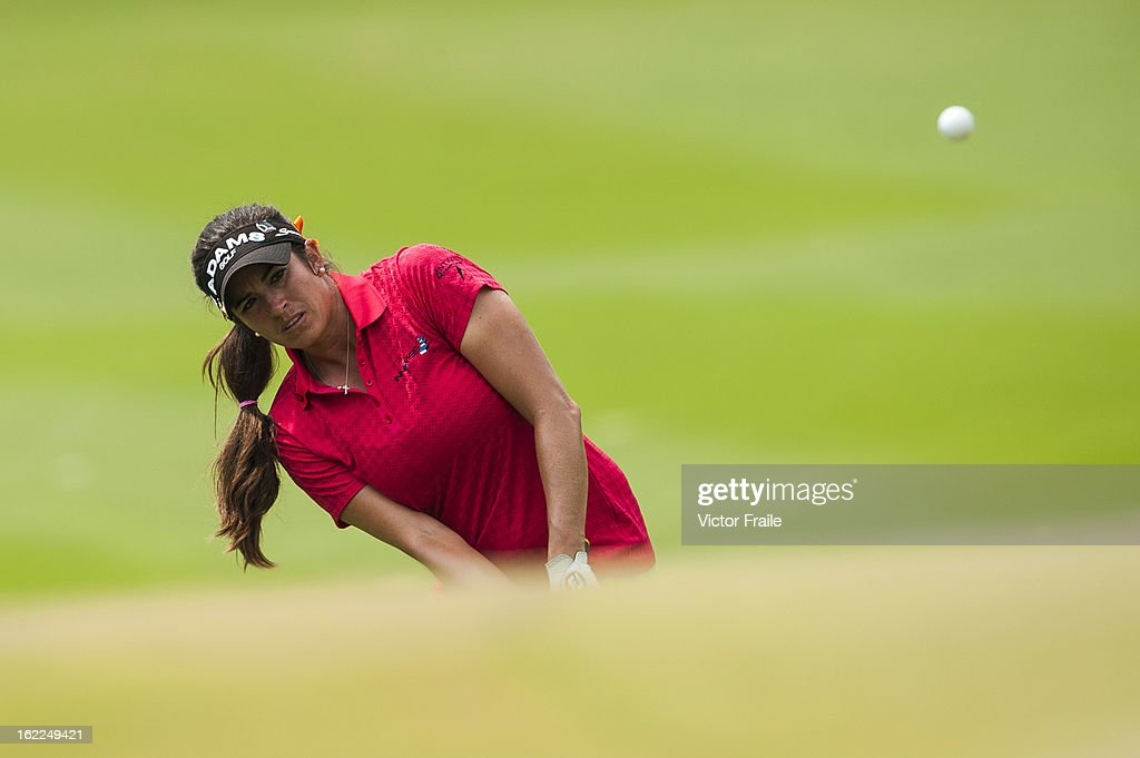 Gerina Piller of USA chips into the 14th green during day one of the 2013 Honda LPGA Thailand at Siam Country Club on February 21, 2013 in Chon Buri, Thailand.