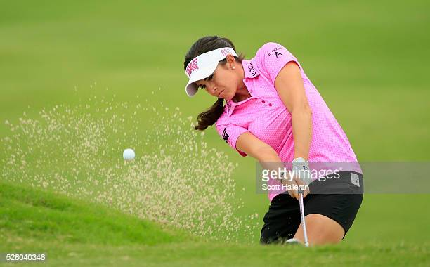Gerina Piller plays a bunker shot on the tenth hole during the second round of the Volunteers of America Texas Shootout at Las Colinas Country Club...