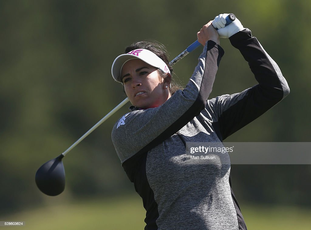 Gerina Piller watches her tee shot on the ninth hole during the second round of the Yokohama Tire Classic on May 06, 2016 in Prattville, Alabama.