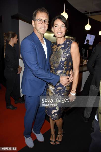 Gerit Kling and her husband Wolfram Becker attend the cocktail prolonge to the semifinal round of judging of The International Emmy Awards 2017 on...