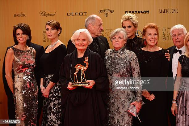 Gerit Kling Anja Kling Ruth Maria Kubitschek Grit Boettcher Inka Bause Gaby Dohm and Peter Weck are seen at the Bambi Awards 2015 winners board at...