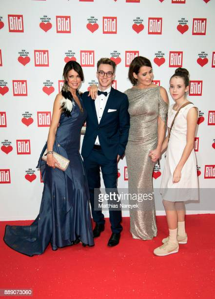 Gerit Kling with her son Leon and her sister Anja Kling with her daughter Alea arrive at the Ein Herz Fuer Kinder Gala at Studio Berlin Adlershof on...