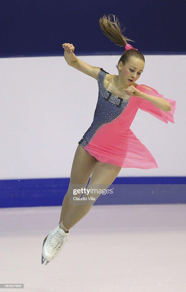 Gerli Liinamae of Estonia skate in the Junior Ladies Short Program during day 5 of the ISU World Junior Figure Skating Championships at Agora Arena on March 01, 2013 in Milan, Italy.