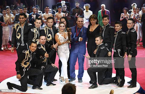 Gerlings Troupe receive the Bronze Clown from Princess Stephanie of Monaco during the awards ceremony of the 41st MonteCarlo International Circus...