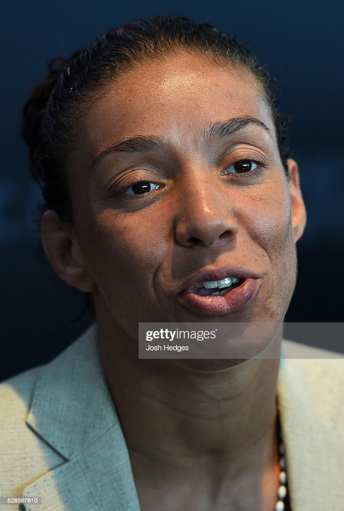Germaine de Randamie of The Netherlands interacts with media during the UFC Ultimate Media Day at the Mainport Hotel on May 6, 2016 in Rotterdam, Netherlands.