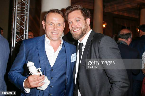 German actor and award winner Devid Striesow and German actor Ken Duken during the Bayerischer Fernsehpreis 2017 at Prinzregententheater on May 19...