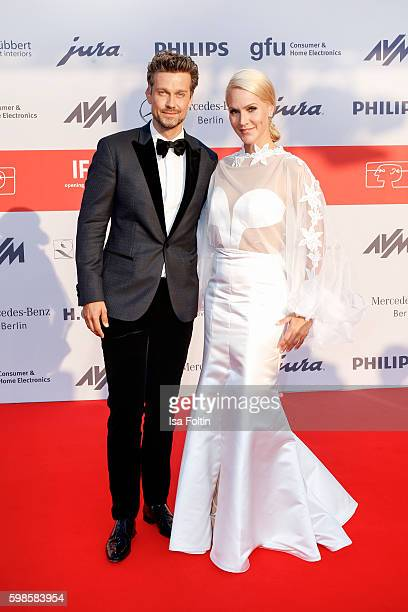 German actor and moderadtor Wayne Carpendale and news anchor Judith Rakers attend the IFA 2016 opening gala on September 1 2016 in Berlin Germany