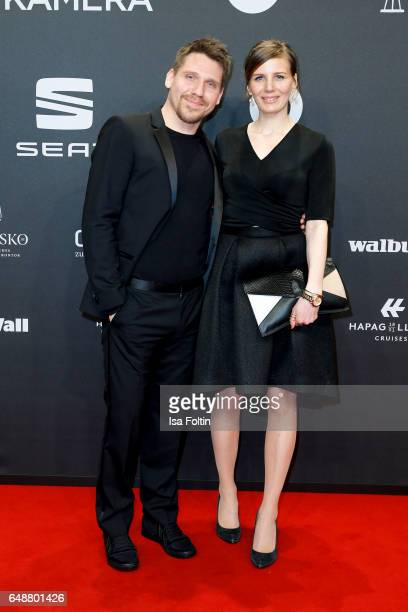 German actor and musician Hanno Koffler and Mia Meyer arrive for the Goldene Kamera on March 4 2017 in Hamburg Germany