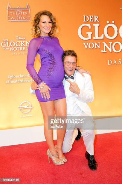 German actor and presenter Peer Kusmagk and his girlfriend Janni Hoenscheid attend the premiere of the musical 'Der Gloeckner von Notre Dame' on...