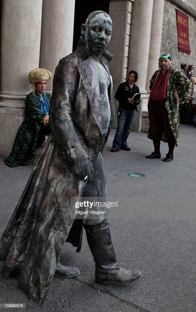 German actor <a gi-track='captionPersonalityLinkClicked' href=/galleries/search?phrase=Ben+Becker&family=editorial&specificpeople=622206 ng-click='$event.stopPropagation()'>Ben Becker</a> smokes a cigarette prior to the premiere of the play 'Jedermann' during the opening of the Salzburg Festival on July 25, 2010 in Salzburg, Austria.
