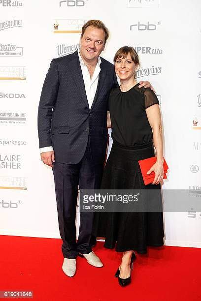 German actor Charly Huebner and german actress Anneke Kim Sarnau attend the Goldene Henne on October 28 2016 in Leipzig Germany