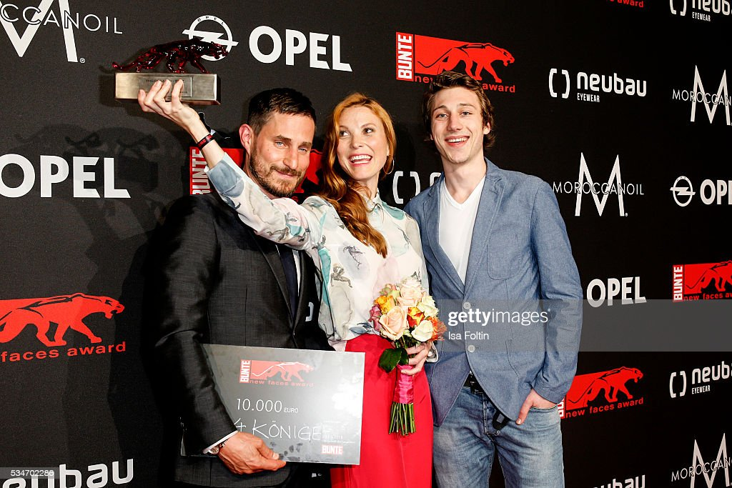 German actor <a gi-track='captionPersonalityLinkClicked' href=/galleries/search?phrase=Clemens+Schick&family=editorial&specificpeople=4029135 ng-click='$event.stopPropagation()'>Clemens Schick</a>, award winner producer Theresa von Eltz and Moritz Leu attend the New Faces Award Film 2016 at ewerk on May 26, 2016 in Berlin, Germany.