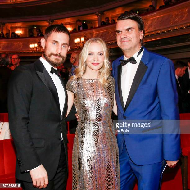 German actor Clemens Schick German actress Janin Ullmann and Andre Pollmann during the GQ Men of the year Award 2017 show at Komische Oper on...