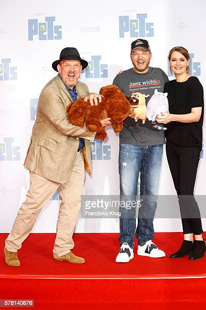 German actor Dietmar Baer german comedian Mario Barth and german comedian Martina Hill attend the premiere of the film 'PETS' at CineStar on July 20...