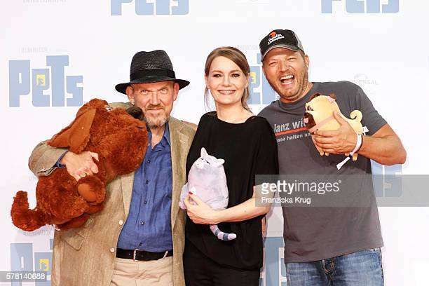 German actor Dietmar Baer german comedian Martina Hill and german comedian Mario Barth attend the premiere of the film 'PETS' at CineStar on July 20...