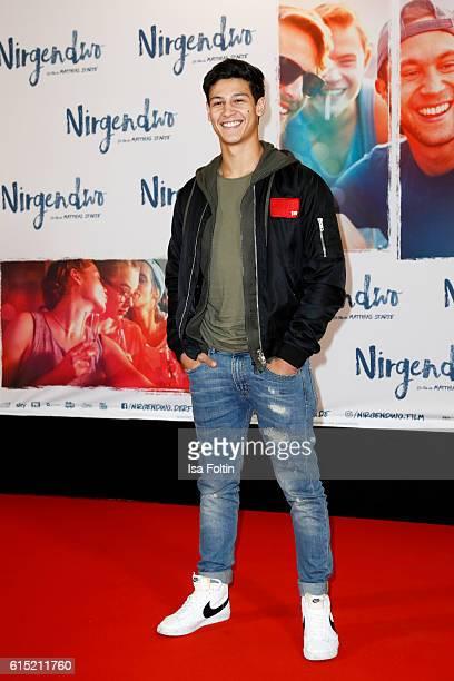 German actor Emilio Sakraya attends the German premiere of the film 'Nirgendwo' at Cubix Alexanderplatz on October 17 2016 in Berlin Germany