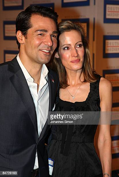 German actor Erol Sander and his wife Caroline attend the awarding ceremony of the German Media Award on February 10 2009 in BadenBaden Germany