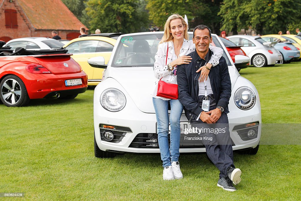German actor Erol Sander and his wife Caroline Godet attend the 12th Beetle Sunshine Tour To Travemuende the 12th Beetle Sunshine Tour on August 20...