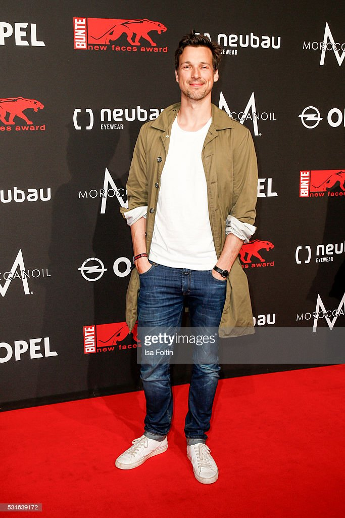 German actor <a gi-track='captionPersonalityLinkClicked' href=/galleries/search?phrase=Florian+David+Fitz&family=editorial&specificpeople=4218706 ng-click='$event.stopPropagation()'>Florian David Fitz</a> attends the New Faces Award Film 2016 at ewerk on May 26, 2016 in Berlin, Germany.