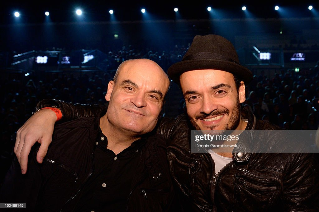 German actor Giovanni Zarrella and his father Bruno attend the IBF Middleweight Eliminator fight between Felix Sturm of Germany and Sam Soliman of Australia at ISS Dome on February 1, 2013 in Duesseldorf, Germany.
