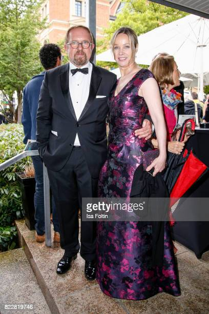 German actor Harald Krassnitzer and his wife German actress AnnKathrin Kramer attend the Bayreuth Festival 2017 Opening on July 25 2017 in Bayreuth...